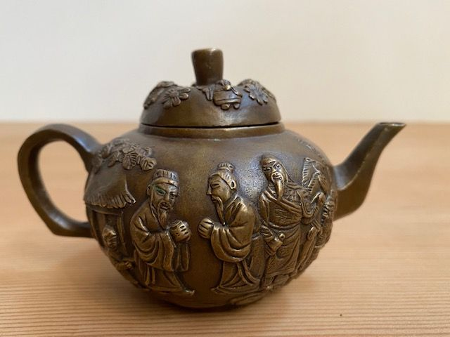 Antique Chinese Bronze Daoist Figure on Small Teapot