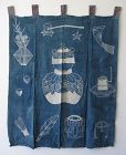 Japanese Antique Indigo Textile with Tea Ceremony Design