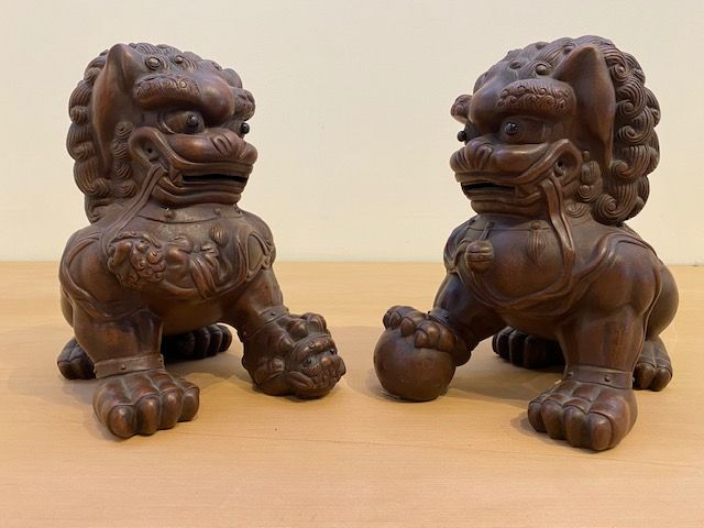 Pair of Antique Yixing Fu Dogs