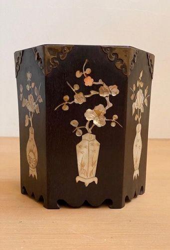 Antique Korean Intlaid Hexagonal Brushpot