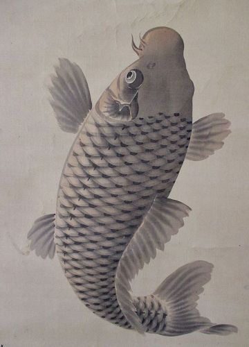 Japanese Antique Scroll Painting of a Koi Fish Leaping up a Waterfall