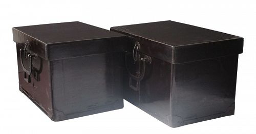 Antique Japanese Lacquer Pair of Presentation Processional Boxes Edo