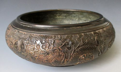 Chinese Antique Bronze Censor with Dragons