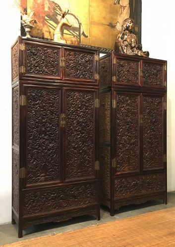 Pair of Chinese Mixed Hardwood Compound Cabinets with Dragons