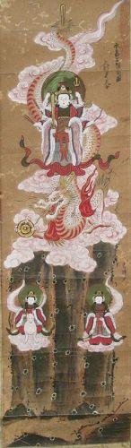 Japanese Antique Shrine Scroll Painting of the Goddess Benzaiten