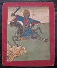 Tibetan Antique Tsakli Card with Painting of Heruka on Horseback