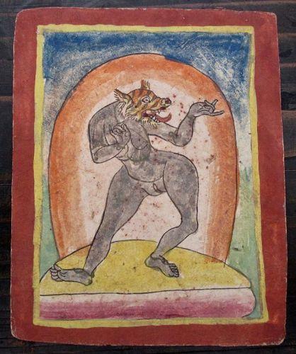 Tibetan Antique Tsakli Card with Painting of Beast-Headed D�kinī