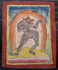 Tibetan Antique Tsakli Card with Painting of Beast-Headed D�kinī