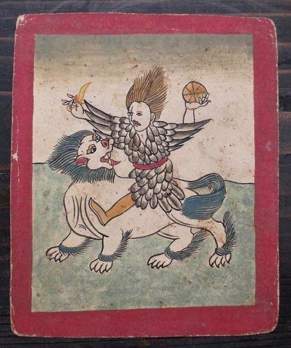 Tibetan Antique Tsakli Card with Painting of Heruka on Fu-Lion
