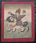 Tibetan Antique Tsakli Card with Painting of Heruka on Fu-Lion