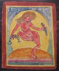Tibetan Antique Tsakli Card with Painting of D�kinī with Phurba