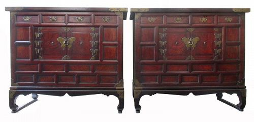 Pair of Korean Antique Nong,  Bedside Storage Chests