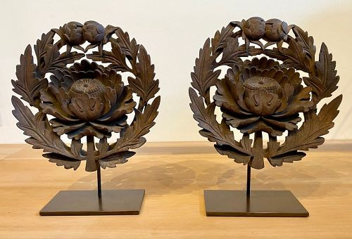 Rare Pair of Japanese Keyaki Peonies Temple Doors Crests