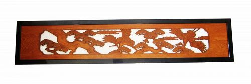 Antique Japanese Ranma Transom Crane & Pine Trees Longevity Symbols