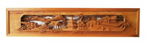 Antique Japanese Ranma Transom Temple Grounds and Landscape Taisho