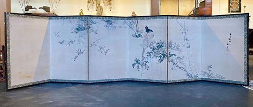 Antique Six Panel Japanese Byobu Screen of Pheasant an Swallows
