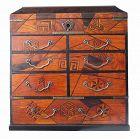 Japanese Antique Yosegi Kobako (Marquetry Drawer Box) with Lid