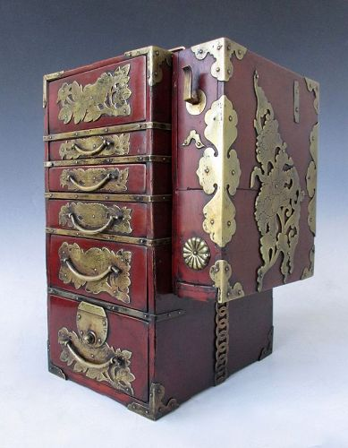 Japanese Antique Rare Gyosho Bako (Peddler's Box) Set for a Barber