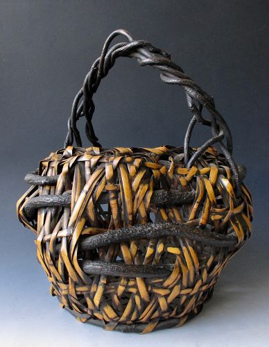 Japanese Antique Bamboo Ikebana Basket with Wisteria Vine