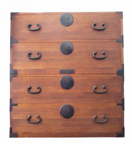 Antique Japanese Kasane Tansu (Chest on Chest) Kiri Meiji period