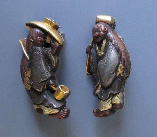 Japanese Antique Pair of Menuki Pins of Kanzan and Jittoku