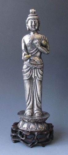 Chinese Antique Silver Figure of Standing Bodhisattva