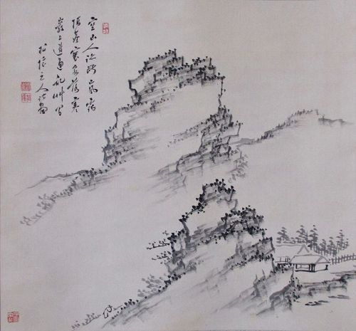 Japanese Antique Scroll Painting of a Rocky Landscape by Tanaka Hakuin