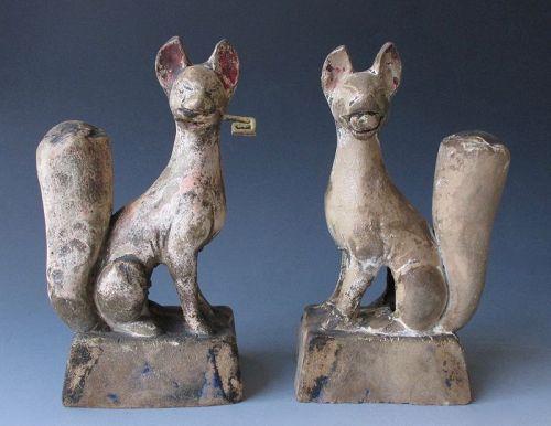 Japanese Foxes (Inari Kitsune) Antique Pair Shinto Shrine Messenger