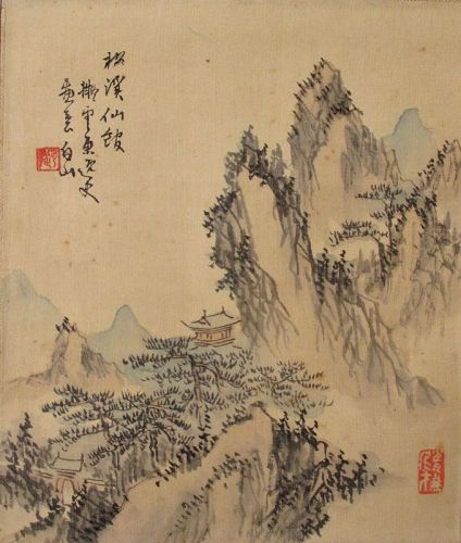 Japanese Antique Scroll Painting of a Mountain Pavilion by Hakuzan