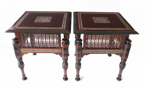 Turkish Antique Pair of Inlaid Side Tables