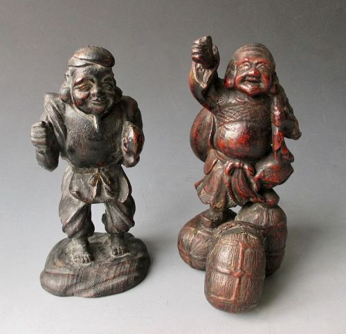 Japanese Antique Pair of Lucky Gods,  Ebisu and Daikoku Shrine Figures