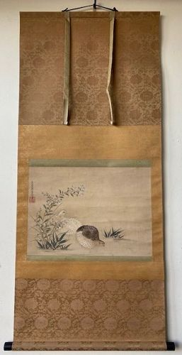 Antique Japanese Scroll of Quails and Chrysanthemum by Tosa Mitsuoki