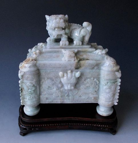 Chinese Antique Highly Carved Jade Lidded Box with Fu-lion