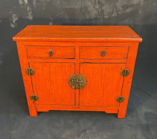 Antique Chinese Orange Lacquer Beijing Chest 19th C 2 Drawer 2 Doors