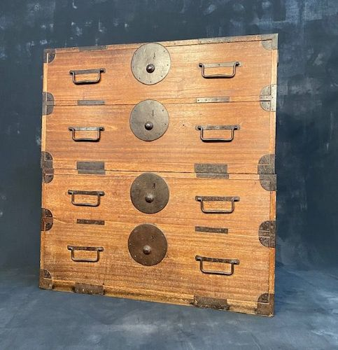 Antique Japanese Kasane Tansu (Stacking Chest on Chest) Kiri Meiji