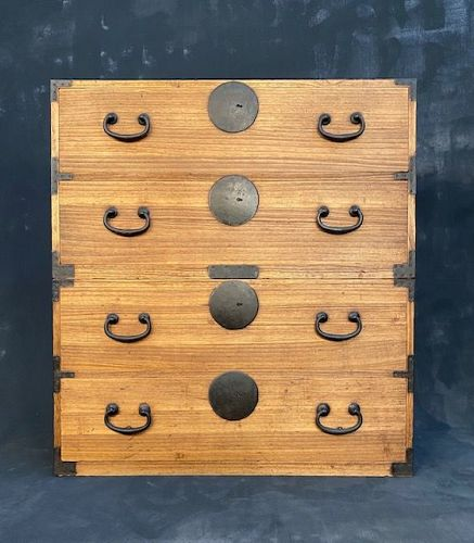 Antique Japanese Kasane Tansu (Stacking Chest on Chest) Kiri Meiji Era