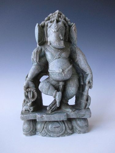 Indian Antique Stone Figure of Dancing Ganesha