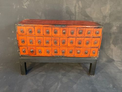 Antique Japanese Kusuri Tansu (Apothecary Chest) Negoro Lacquer 19thC