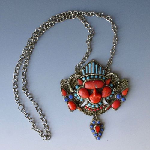 Tibetan Antique Necklace with Wrathful Deity