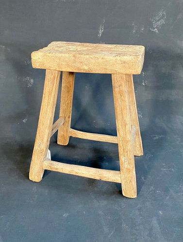 Antique Chinese Country Stool Elm