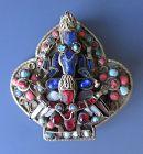 Antique Tibetan Inlaid Pin of Vishnu and Garuda