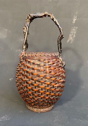 Antique Japanese Bamboo Ikebana Basket Barrel Shape Wisteria Handle