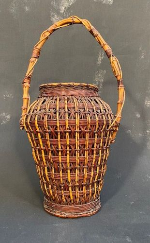 Antique Japanese Bamboo Ikebana Basket Ballister Shape Meiji Era