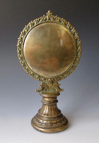 Nepalese Antique Bronze Melong Altar Mirror