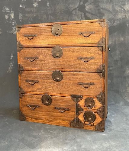 Antique Japanese Ko Tansu (Personal Storage Chest) Kiri Meiji Era