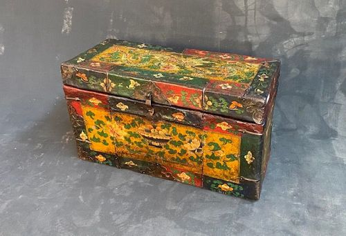 Antique Tibetan Traveling Trunk Hand Painted Leather Over Wood