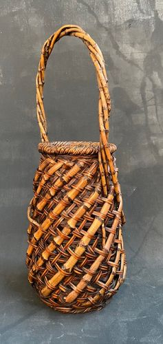 Antique Japanese Bamboo Ikebana Basket Diagonal Cross-hatch Design