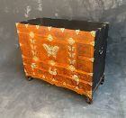 Antique Korean Bridal Chest Burled Elm Auspicious Symbols 19th C