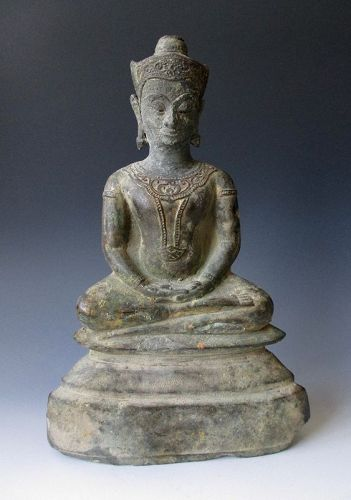 Thai Antique Bronze Seated Buddha,  Ayutthaya Kingdom