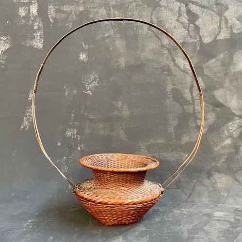Antique Ikebana Bamboo Basket Ancient Vessel Exaggerated Loop Handle